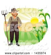 Vector of Happy Male Farmer in Overalls, Holding a Rake Against Hills and a Sunrise by BNP Design Studio