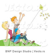 Vector of Happy Mom, Dad and Boy Flying a Kite at a Park by BNP Design Studio