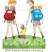Vector of Happy Mom, Dad and Son Hiking Together by BNP Design Studio