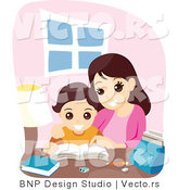 Vector of Happy Mother Helping Son with School Work by BNP Design Studio