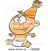 Vector of Happy New Year Caucasian Baby Sitting in a Diaper and Wearing a Party Hat by Toonaday