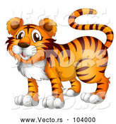 Vector of Happy Orange Cartoon Tiger by Graphics RF