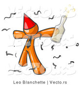 Vector of Happy Orange Guy Partying with a Party Hat, Confetti and a Bottle of Liquor by Leo Blanchette