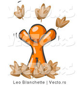 Vector of Happy Orange Guy Tossing up Autumn Leaves in the Air, Symbolizing Happiness, Freedom, and Being Carefree by Leo Blanchette
