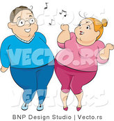 Vector of Happy Overweight Couple Dancing Together by BNP Design Studio