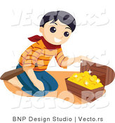 Vector of Happy Pirate Boy Looking at Treasure Chest Full of Gold by BNP Design Studio