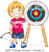 Vector of Happy Red Haired Boy Standing Beside Arrow in a Target by BNP Design Studio