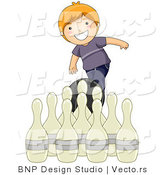 Vector of Happy Red Haired Boy Throwing a Bowling Ball by BNP Design Studio