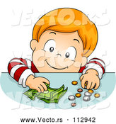 Vector of Happy Red Haired White Boy Putting Coins and Cash Money on a Table by BNP Design Studio