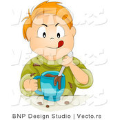 Vector of Happy Red Head Boy Mixing Chocolate Milk Aggressively - Cartoon Rendition by BNP Design Studio