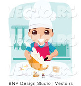Vector of Happy School Boy Cooking Food in Home Economics Class by BNP Design Studio