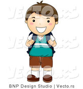 Vector of Happy School Boy Smiling While Holding Backpack Straps by BNP Design Studio