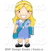 Vector of Happy School Girl Standing with Shoulder Bag and Book by BNP Design Studio