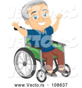 Vector of Happy Senior White Guy Cheering in a Wheelchair by BNP Design Studio