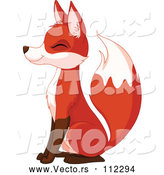 Vector of Happy Sitting Fox Smiling with Its Eyes Closed and Facing Left by Pushkin