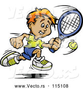 Vector of Happy Sporty White Boy Swinging at a Tennis Ball by Chromaco