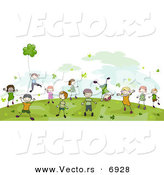 Vector of Happy St. Patrick's Day Kids Playing in a Field by BNP Design Studio