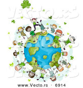 Vector of Happy St. Patrick's Day Kids with Clovers Around Earth by BNP Design Studio