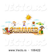 Vector of Happy Stick Kids Around Summer Text by Graphics RF