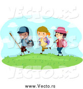 Vector of Happy Summer Camp Kids Hiking by BNP Design Studio