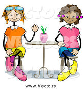 April 20th, 2015: Vector of Happy White and Black Stick Girls Sitting at a Table by BNP Design Studio
