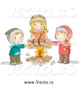 Vector of Happy White Children Roasting over a Campfire by BNP Design Studio