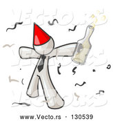 Vector of Happy White Guy Partying with a Party Hat, Confetti and a Bottle of Liquor by Leo Blanchette