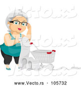 Vector of Happy White Haired Senior White Lady with a Shopping Cart and Long List by BNP Design Studio