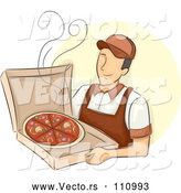 Vector of Happy White Male Pizza Delivery Guy Holding a Hot Box by BNP Design Studio