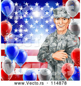 Vector of Happy White Military Veteran Man over an American Flag and Balloons by AtStockIllustration