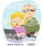 Vector of Happy White Senior Couple Using a Laptop Computer by BNP Design Studio