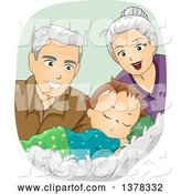 Vector of Happy White Senior Grandparents Looking at a Sleeping Baby Boy by BNP Design Studio
