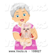 Vector of Happy White Senior Woman Holding Her Shihtzu Dog by BNP Design Studio