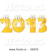 Vector of Happy Yellow 2013 Cartoon Digits by Hit Toon