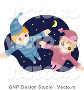 Vector of Happy Young Boy and Girl Flying Against a Starry Night Sky by BNP Design Studio
