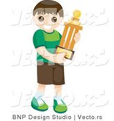 Vector of Happy Young Boy Carrying Prized Trophy by BNP Design Studio