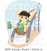 Vector of Happy Young Boy Going down a Slide at a Playground by BNP Design Studio
