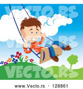 May 4th, 2018: Vector of Happy Young Boy Swinging Outdoors on a Summer Day by TA Images
