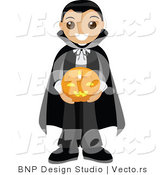 Vector of Happy Young Boy Wearing Vampire Costume and Holding Pumpkin by BNP Design Studio