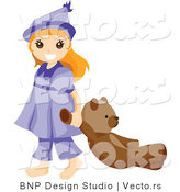 Vector of Happy Young Girl Dragging Her Teddy Bear by BNP Design Studio