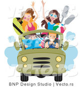 Vector of Happy Young Men and Women Driving to the Beach in a Jeep by BNP Design Studio
