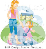 Vector of Happy Young Mom Walking with Her Daughter to School by BNP Design Studio