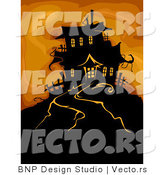 Vector of Haunted House on a Hill over Spooky Orange Background by BNP Design Studio