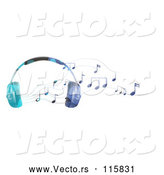 Vector of Headphones and Music Notes by Graphics RF