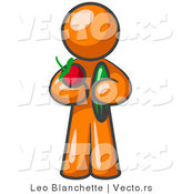 Vector of Healthy Orange Guy Carrying a Fresh and Organic Apple and Cucumber by Leo Blanchette