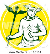 Vector of Hermes Man with a Caduceus - Yellow and White Circle Theme by Patrimonio