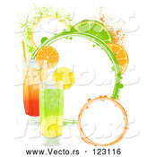 Vector of Highball Cocktails with Lemon Orange and Lime Slices and Grunge Circles by Elaineitalia