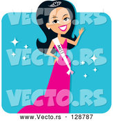 Vector of Hispanic Pageant Contestant Wearing a Sash and a Pink Evening Gown by Monica