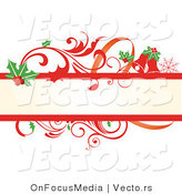 Vector of Holly Leaves and Red Scrolling Vines - Christmas Themed Blank Banner by OnFocusMedia