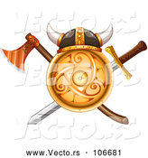 Vector of Horned Helment on Gold Viking Shield with a Crossed Axe and Sword by Graphics RF